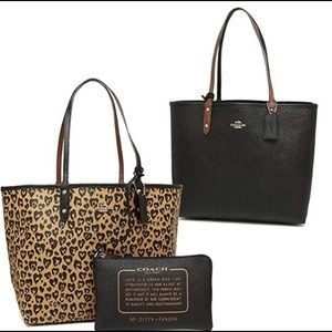 COACH Leopard Heart Reversible Tote and Wristlet